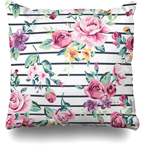Fundas de almohada para jardín, color azul, vintage, diseño de flores tropicales, rayas, flores, flores, flores, hibisco, hula, 18 x 18 fundas de almohada