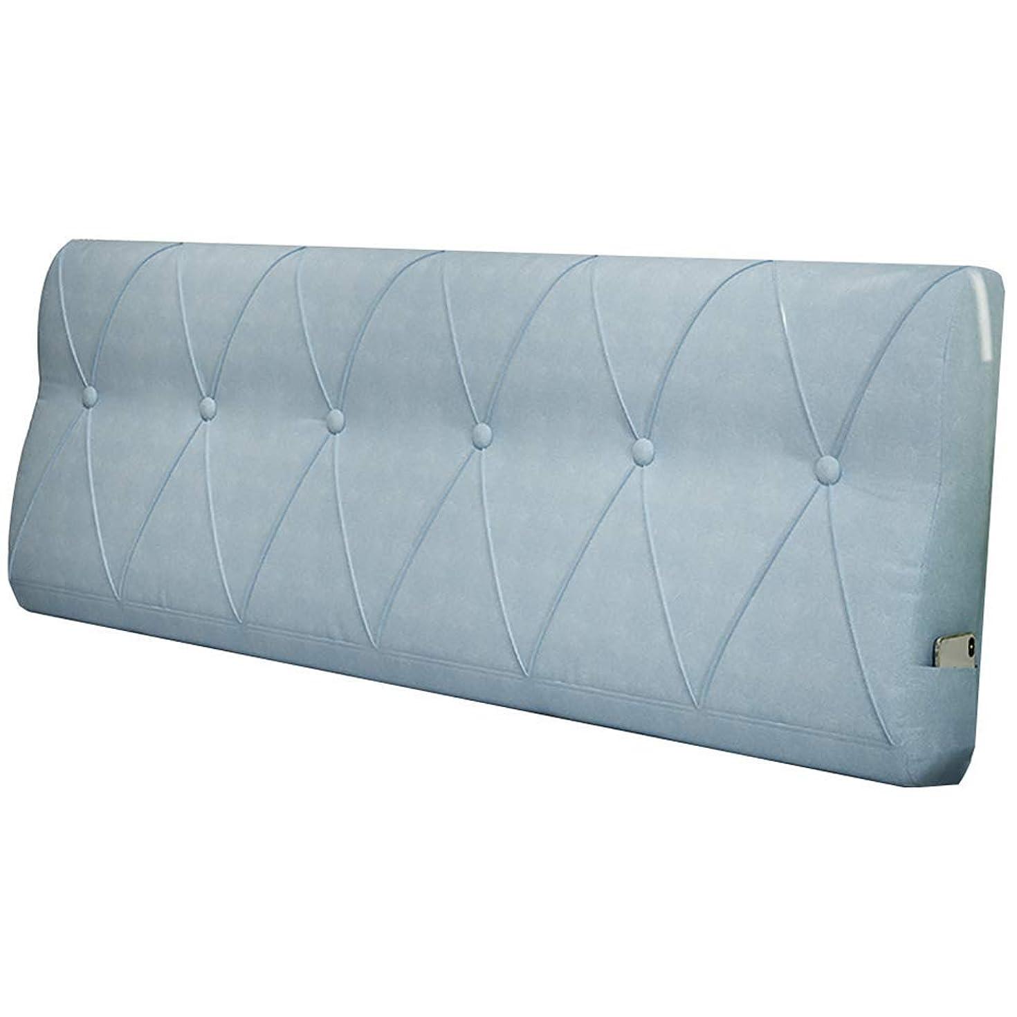 息を切らして虚栄心禁輸WZBヘッドボードクッションウエストを簡単に支えるシンプルで快適なPPコットンサイドポケット、5色、5サイズ(色:A-Blue、サイズ:120x60x15cm)
