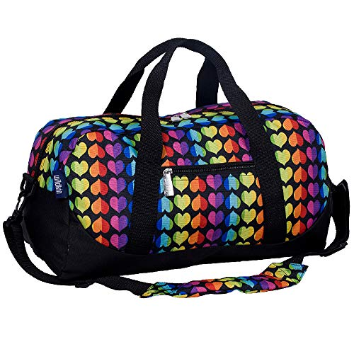 Wildkin Kids Overnighter Duffel Bag for Boys and Girls, Carry-On Size and Perfect for After-School Practice or Weekend Overnight Travel, Measures 18x9x9 Inches, BPA-free (Rainbow Hearts)
