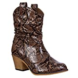 Charles Albert Women's Modern Western Cowboy Distressed Boot with Pull-Up Tabs in Brown Snakeskin Size: 8