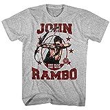 Rambo 80s Thriller War Army First Blood One Man One War Movie John Adult T-Shirt Gray Heather