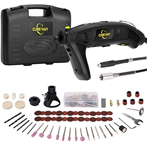 Rotary Tool, 1.5Amp High Power Variable Speed Electric Rotary Tool Kit with Flex Shaft, Cutting Guide, Auxiliary Handle and Carrying Case, 112pcs Accessories for Crafting Projects CUBEWAY