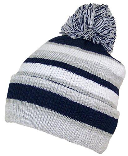 Best Winter Hats Quality Striped Variegated Cuffed Beanie W/Large Pom (L/XL) - Light Gray/Navy