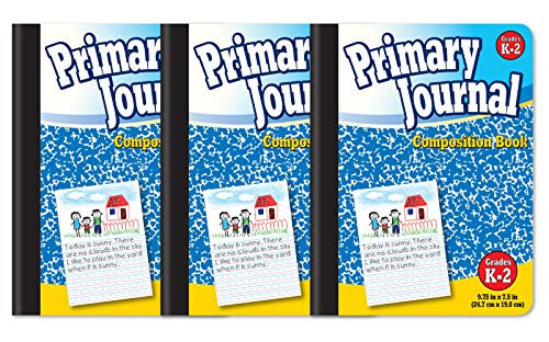 """Primary Journal, Hardcover, Primary Composition Book Notebook - Grades K-2, 100 Sheet, One Subject, 9.75"""" x 7.5"""", Blue Cover-3 Pack"""
