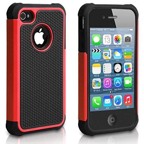 iPhone 4 Case, iPhone 4S Case, CHTech Fashion Shockproof Durable Hybrid Dual Layer Armor Defender Protective Case Cover for Apple iPhone 4S/4 (Red)
