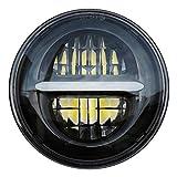 5.75 '' LED Projektions Scheinwerfer für Harley Davidson Sportster Dyna Nightster Wide Glide Street Bob Night Rod usw. 5 3/4 Zoll Runder Motorrad Scheinwerfer mit Tagfahrlicht (Schwarz)