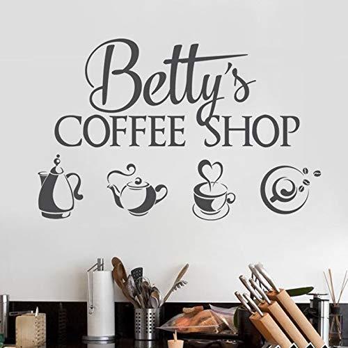 Tianpengyuanshuai Coffee Shop Logo muursticker vinyl sticker gepersonaliseerde winkel naam sticker muurschildering