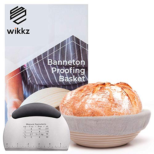 """Wikkz Bread Proofing Basket Set – Round 9"""" Brotform Banneton with Linen Couche Liner and Bakers Scraper Lame for Homemade Sourdough and Artisan Ciabatta – Handmade Rattan Proving Bowl"""