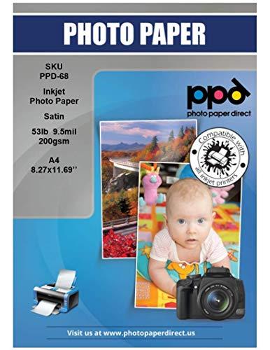 PPD 200 g/m² Inkjet Fotopapier In Profiqualität -- Seidenglänzend Satin Mikroporöse Beschichtung Sofort Trocken und Wasserfest , DIN A4 x 100 Blatt PPD-68-100