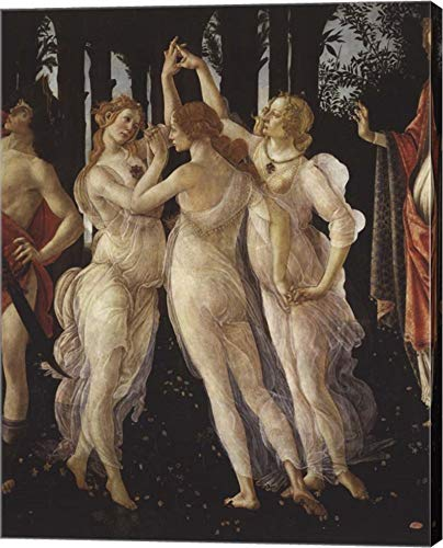 La Primavera (Spring) Detail of Three Graces by Sandro Botticelli Canvas Art Wall Picture, Gallery Wrap, 13 x 16 inches