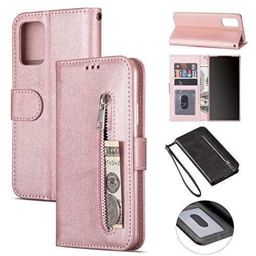 ZTOFERA Samsung A51 Hülle, Magnetisch Folio Flip Wallet Leder Standfunktion Reißverschluss schutzhülle mit Trageschlaufe, Brieftasche Hülle für Samsung Galaxy A51 - Roségold