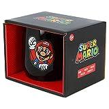 STOR Tazza in ceramica Nova 360 ml Super Mario in confezione regalo, nero, medio
