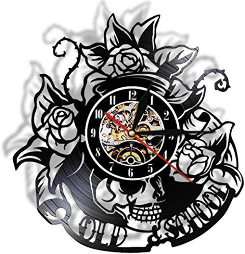 Tattoo Schädel mit Rose Vinyl Schallplatte Wanduhr Skelett Schädel Dorn Rosen Stille Quarz Wanduhr Gothic Home Art Wanddekoration