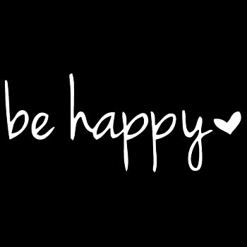 Salt City Graphics Car Window Decal Smile Car Decal Happiness Sticker 5 inches Wide, White Smiley Face Typographic Decal