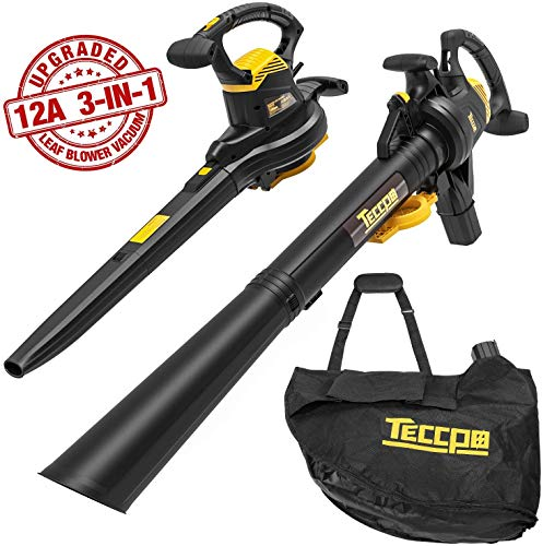 TECCPO 3-in-1 Leaf Blower/Vacuum/Mulcher, 12 Amp Professional Leaf Vacuum, Variable Blow Speed of 170/250mph, Mulching Ration of 16:1, 280/410 CFM, Improved 40L Collection Bag - TABV01G
