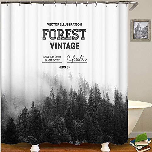 WAXY Duschvorhang mit Wald-Motiv, 3D-Badezimmervorhang, Duschvorhang, Polyester, 180 x 180 cm, CC70