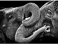 大人のジグソーパズル2000個の大きなジグソー黒と白の象の挑戦的なゲームおもちゃのギフト子供10代の家族のジグソーパズル 70 X 100cm