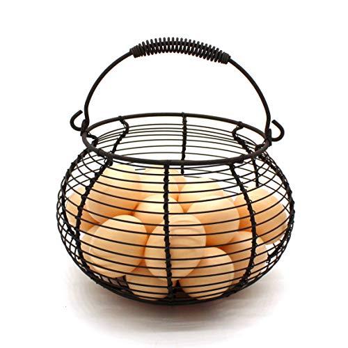 CVHOMEDECO. Cesta rústica de alambre para huevos con asa de natación, cesta de reunión vintage Rusty
