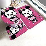 KINGAM Juego de 3 alfombras de baño con diseño de Minnie Mouse rosa y alfombrilla antideslizante + alfombra de contorno en forma de U + tapa para inodoro
