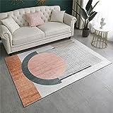 Alfombra para Silla Gaming Fácil Eliminación De Polvo Impresión Circular geométrica alfombras Entrada casa Naranja Rosa Gris 80X160cm
