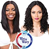 Wet and Wavy Lace Front Wigs,Human Hair Wigs for Black Women Glueless Lace Wig with Baby Hair 14inch Brazilian Straight Wig to Loose Deep Curly Wig Natural Color