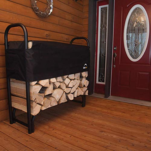 ShelterLogic 4' Adjustable Heavy Duty Outdoor Firewood Rack with Steel Frame Construction and...