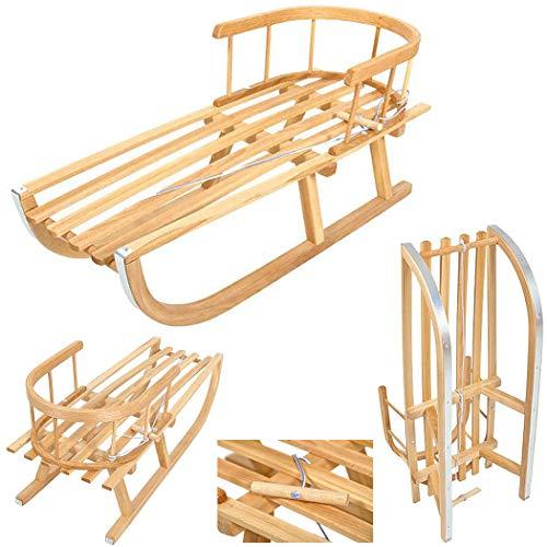 Best For Kids Holzschlitten für Kinder mit Rückenlehne Rodelschlitten Davoser aus Holz