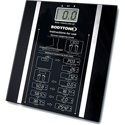 Online-shoppee Báscula digital súper delgada de grasa corporal | pesa en LB, KG y ST | Báscula de peso con tecnología Step-On | Diseño delgado | Almacena 10 detalles de usuario separados