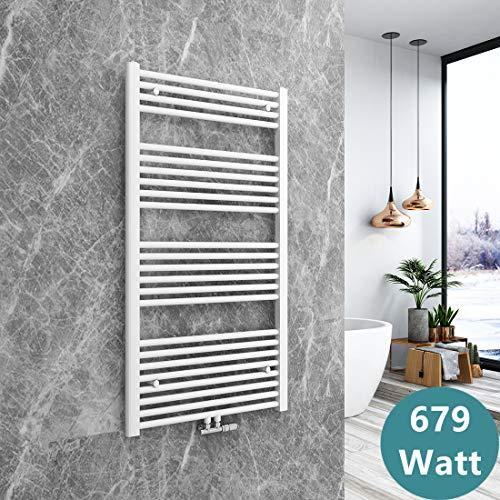 Bath-mann Heizkörper Badheizkörper Handtuchhalter für heizung Handtuchtrockner Bad Mittelanschluss Handtuchwärmer, Horizontal 120x60cm Weiß