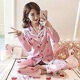 Otoño e Invierno Pijamas de satén para Mujer nuevos Traje de Manga Larga de Seda Pijamas de Mujer Conjunto de Mangas Completas XL
