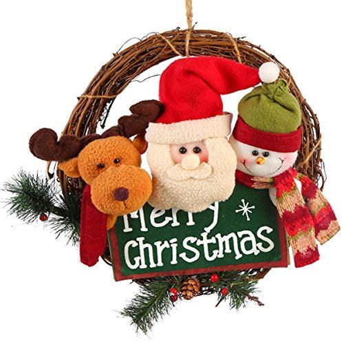 XONOR Guirnalda de Navidad para la Puerta Delantera, guirnaldas de la Puerta de 35 cm Decoración del Coche de Pared de suspensión de Puerta de Navidad en casa (Reindeer Snowman Santa)