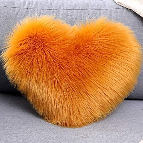 Kpcxdp Funda de cojín de Almohada de Tiro de Lana Artificial con Forma de Amor sofá decoración del hogar Cama Funda de cojín para Silla de Cama 40x50cm