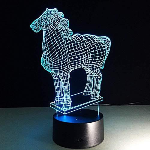 Luz nocturna 3D Lámparas de decoración Caballo de crin luz nocturna remoto para sala de estar, bar, regalo juguetes para niños y niñas Con carga USB, control táctil de cambio de color colorido