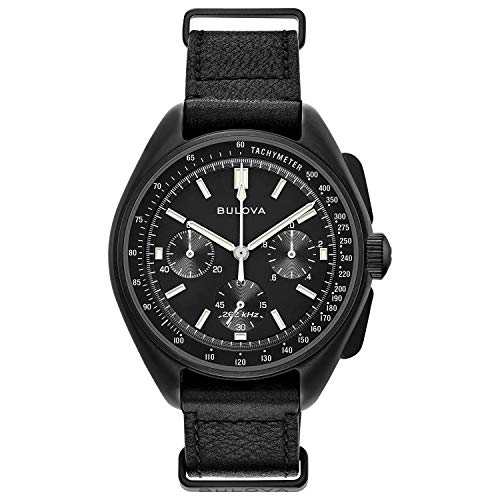 Bulova Archive Series Mens Watch, Stainless Steel with Black Leather Strap Lunar Pilot Chronograph , Black (Model: 98A186)