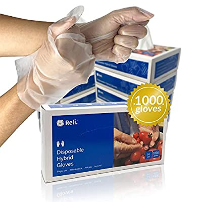 Reli. Disposable Gloves, Medium (1000 Pack Bulk) (M/L/XL Available), Hybrid Plastic Gloves Disposable - Latex Free / Powder Free, Clear Disposable Gloves for Hand Protection / Food Handling (Med)