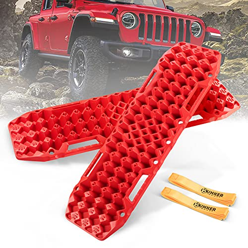 BUNKER INDUST Off-Road Traction Boards with Jack Base, 1 Pair Recovery Tracks Mat for 4X4 Jeep Truck...