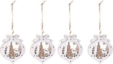 4 Pcs Wooden Hollow Decorative Pendant Ornament Hanging Decor Xmas Baubles Christmas Tree Decoration
