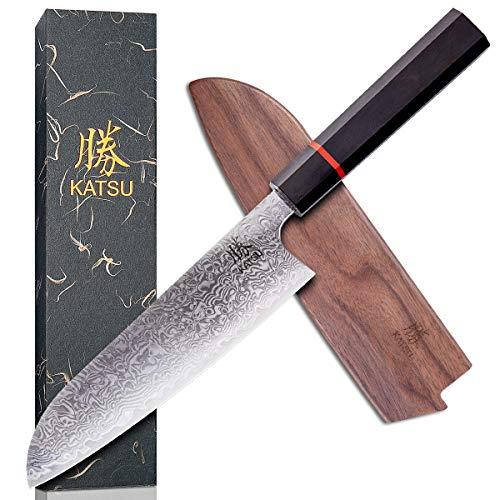 KATSU Kitchen Santoku Knife - Damascus Steel - Japanese Kitchen Knife -...