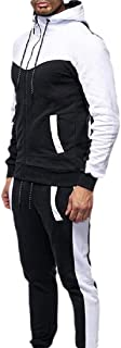Men Tracksuit 2PC Patchwork Sweatshirt Top Pants Hooded Sports Suit