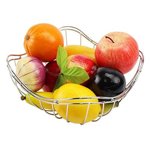 GWM Bol à fruits en fil métallique finition chromée - Plat à fruits - Assiette à bonbons - Bol de rangement - Décoration de salon moderne - Diamètre : 25 cm