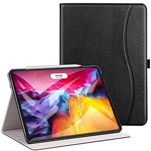 ZtotopCase for New iPad Pro 11 Inch 2nd Generation 2020, Premium PU Leather Smart Cover with Auto Wake/Sleep and Multiple Viewing Angles, Support 2nd Gen iPad Pencil Wireless Charging, Black