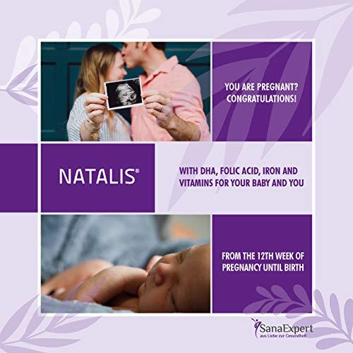 Premium Prenatal Multivitamin, SanaExpert Natalis for Pregnancy and Breastfeeding, Folic Acid, Vitamins, Iron and DHA (omega 3), 90 capsules *Made in Germany*