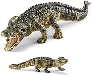 Schleich Realistic, Durable Reptile Retired Alligator and Baby Plastic Toy Set (Items 14727/14728) Bagged Together Nicely
