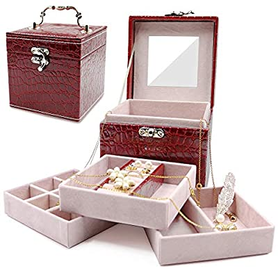 Darolin Retro Three-Layer Lint Jewelry Box Organizer Travel Portable Jewelry Storage Case Accessories Holder Pouch Display with Mirror for Earrings Bracelets Necklaces Rings (Crocodile pattern Red)