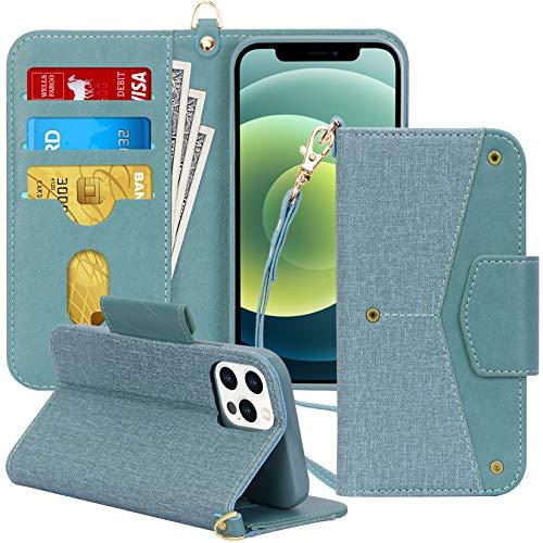 Toplive Funda para iPhone 12 / iPhone 12 Pro 5G 6.1 pulgadas, [bloqueo RFID] Premium Funda tipo cartera con función atril [soporte para tarjeta] para Apple iPhone 12/iPhone 12 Pro 2020-Verde
