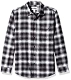Amazon Essentials Men's Slim-Fit Long-Sleeve Plaid Flannel Shirt, Black Ombre, Large