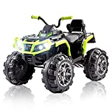 Ride on ATV, 12V Battery Powered Electric Vehicle w/ LED Lights, High &Low Speed, Horn, Music, USB, Rear Wheel Motorized Ride on 4 Wheeler Quad Car for Boys Girls