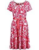 Taifun 581003-19605 3092 sommerliches Damen Kleid mit floralem Muster Stretch, Groesse 34, pink/Gemustert