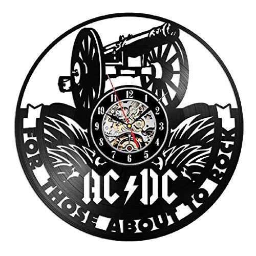 WLALLSS AC DC Schallplatte Wanduhr Modernes Design Musik Rockband Vintage Vinyl CD Uhren Wanduhr Home Decor Geschenke für Fans-Typ 5