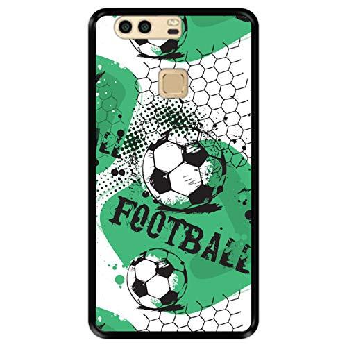 Custodia per [ Huawei P9 Plus ] Disegni [ Modello di Calcio 1 ] Cover Guscio in Silicone Flessibile Nero TPU